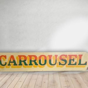 Carrousel - Vintage Hand Painted Rare Fairground Sign For Sale