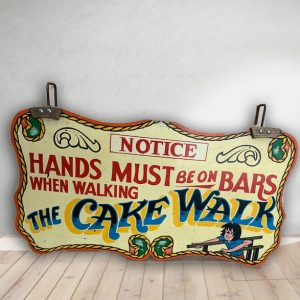 Hands on Bars Vintage Hand Painted Rare Fairground Sign For Sale