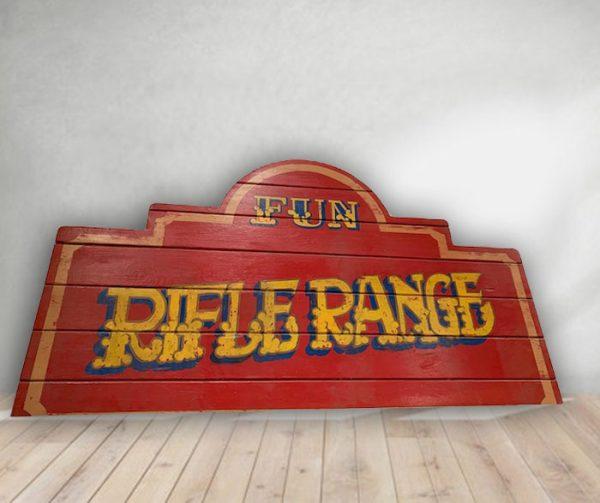 Rifle Range - Vintage Hand Painted Rare Fairground Sign For Sale