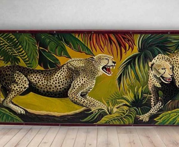 Leopard - Vintage Hand Painted Rare Fairground Panel For Sale