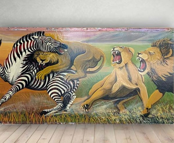 Lions and Zebras Wildlife Decorative Panel - Vintage Hand Painted Rare Fairground Sign For Sale